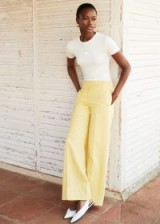 Mango Yellow Cotton corduroy trousers – wide leg cords