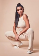 MISSGUIDED cream ribbed flare leg sleeveless jumpsuit ~ casual style