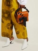 MARQUES'ALMEIDA Crocodile-embossed brown leather cross-body bag ~ chunky chain top handle ~ small bow embellished handbag