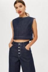 Topshop Boutique Cropped Denim Tank Top | indigo sleeveless crop
