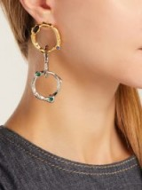MARNI Crystal-embellished gold-tone and silver-tone chain-link earrings ~ statement drops