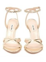 MIU MIU Crystal-embellished patent gold leather sandals ~ luxe ankle straps