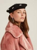 BENOÎT MISSOLIN Crystal-embellished black wool beret ~ luxe hats ~ glamorous look