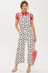 Topshop Dalmatian Spot Dungarees | denim animal print overalls