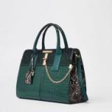 River Island Dark green croc embossed tote bag | emerald top handle bags