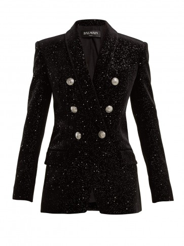 BALMAIN Black Double-breasted glitter velvet blazer ~ beautiful evening jacket