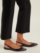 CHRISTIAN LOUBOUTIN Drama stud-embellished patent-leather flats   black high shine studded slingbacks