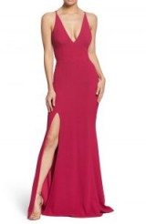 DRESS THE POPULATION Iris Slit Crepe Gown in Raspberry ~ glamorous plunging neckline and thigh high split