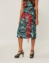 DRIES VAN NOTEN Feather-trim jacquard skirt Turquoise – bold retro print