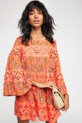 FREE PEOPLE Electric Daisy Co-Ord Spicy Orange / floral summer mini dress