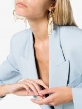 Ellery Pearl Fringe Emin Drop Earrings ~ large fringed half hoops