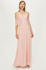 Topshop Embellished Cold Shoulder Maxi Dress in Pink   vintage style evening glamour   plunge front neckline