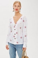 Topshop Embroidered Button Down Blouse in Ivory   summer tops