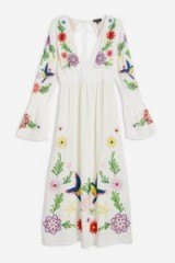 Topshop Embroidered Plunge Midi Dress Ivory – 70s vintage style fashion