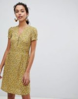 Esprit Floral Print Button Front Tea Dress in Yellow | vintage style summer frock