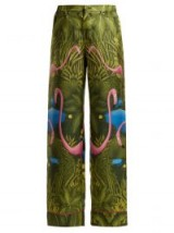 F.R.S – FOR RESTLESS SLEEPERS Etere green flamingo-print silk trousers ~ luxe pyjama style clothing ~ sleepwear fashion