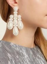 SIMONE ROCHA Faux-pearl and metal chandelier earrings ~ statement style jewellery