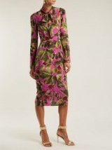 DOLCE & GABBANA Fig-print silk-georgette midi dress ~ pink and green prints ~ beautiful Italian clothing