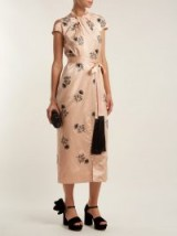 ERDEM Finn floral-beaded silk-satin dress | pale pink oriental style frock