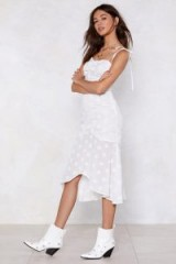 NASTY GAL Floating on Air Midi Dress White – strappy summer dresses – daisy prints