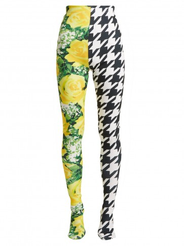 RICHARD QUINN Flora and houndstooth-print high-rise leggings ~ bold prints