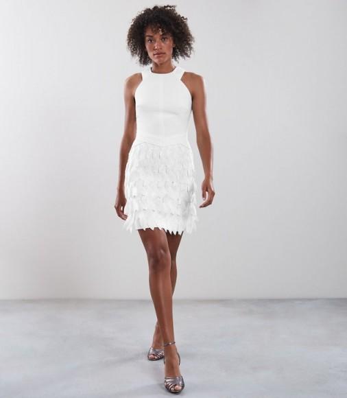 REISS FLORA FEATHER DETAIL PARTY DRESS OFF WHITE ~ glamorous bodycon