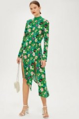 TOPSHOP Floral Chuck On Midi Dress Green – high neck, long sleeves, asymmetric hemline and front slits…perfect!