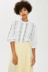 TOPSHOP Floral Embroidered Shirt / blousy boho top