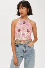 TOPSHOP Pink Floral Halter Neck Cami Top / shimmer and shine