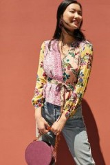 Meadow Rue Floral Patchwork Wrap Blouse Pink ~ mixed prints
