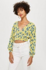 Topshop Floral Plisse Wrap Top in Yellow | summer style crop