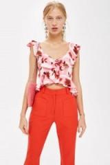 Topshop Floral Print Cropped Top | pink ruffled crop