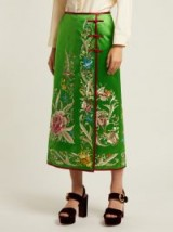 GUCCI Floral-embroidered green silk-satin skirt ~ beautiful luxe clothing
