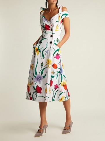 CAROLINA HERRERA Floral-print cotton-blend faille dress ~ cold shoulder summer clothing