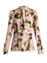 DOLCE & GABBANA Pink rose print silk-charmeuse pussy-bow blouse ~ beautiful Italian clothing