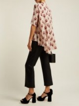 GIAMBATTISTA VALLI Floral-print pink silk-georgette high-low hem blouse ~ chic high neck top