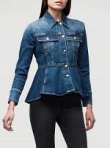 FRAME Flounce Jacket in Delavan | blue denim peplum jackets