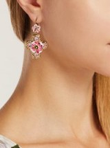 DOLCE & GABBANA Pink Flower and crystal-embellished cross earrings ~ beautiful Italian statement jewellery ~ floral crosses