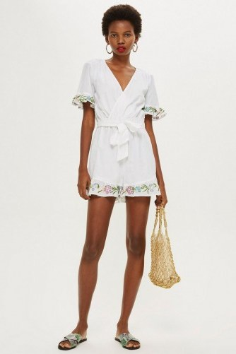 TOPSHOP Flower Embroidered Playsuit Ivory / tie waist floral trimmed romper - flipped