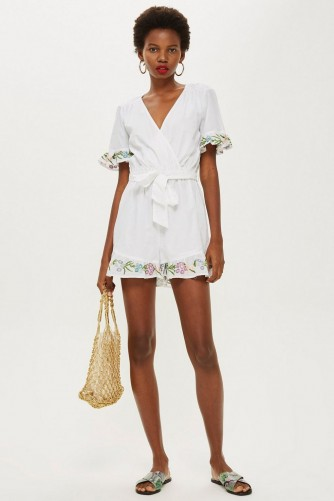 TOPSHOP Flower Embroidered Playsuit Ivory / tie waist floral trimmed romper