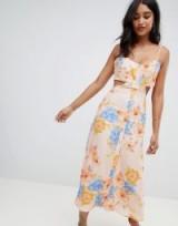 Flynn Skye bloom cut out midi dress in Peony dreams | strappy summer frock