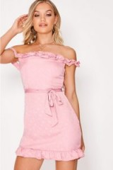 IN THE STYLE FUJI PINK POLKA DOT BARDOT TIE WAIST DRESS ~ off the shoulder