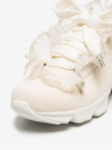Ganni Nude Harriet Ruffle Cotton Canvas Sneakers ~ cute frill trimmed trainer