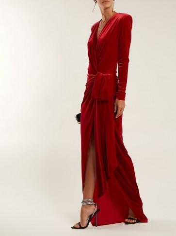 ALEXANDRE VAUTHIER Gathered red velvet wrap dress ~ event glamour