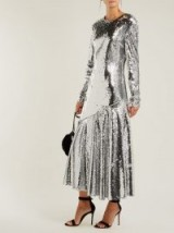 RACIL Gilda silver sequin-embellished dress ~ glamorous metallic event wear
