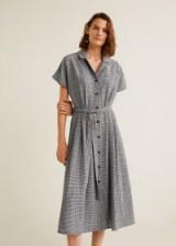 MANGO Gingham check dress in Black / vintage style