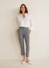 MANGO Gingham check pattern trousers / cropped leg pants