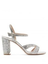 MIU MIU Glitter-embellished open-toe leather sandals ~ strappy silver party shoes