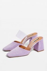 TOPSHOP Goldie Clear Strap Mules Lilac – wide sheer straps – chunky heels