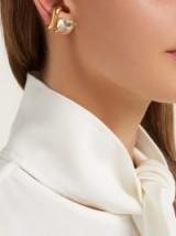 ALAN CROCETTI Gold-plated sterling-silver & amethyst ear cuffs ~ statement earrings ~ green amethysts